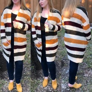 NEW Striped Knit Cardigan With Pockets